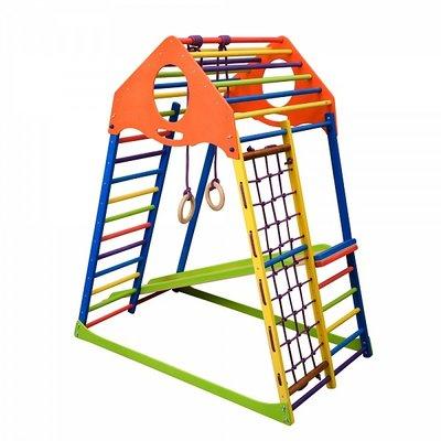 Характеристики Детский спортивный комплекс для дома KindWood Высота 150 см Ширина 84 см Длинна 130