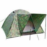Палатка,туристическая,двухслойная,комуфляжная,четырех,4,местная,рыбацкая,кемпинговая,200Х200Хй50См