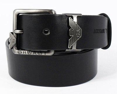 Ремень кожаный мужской под джинсы черный Giorgio Armani 8008-404