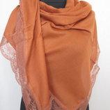 Турция палантин с кружевом тонкая шерсть размер 190х80 см