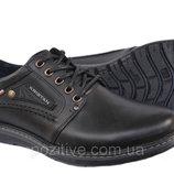 Мужские кожаные туфли Kristan Black на шнурках