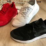 Женские кроссовки Nike Huarache черные белые и красные