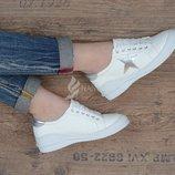 Кроссовки слипоны пресс-кожа женские белые со звездой Silver star на шнуровке