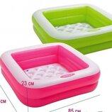 Детский бассейн Квадратный Intex 57100 Розовый и салатовый 85х85х23