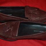 Кожаные шикарные туфли лоферы new look