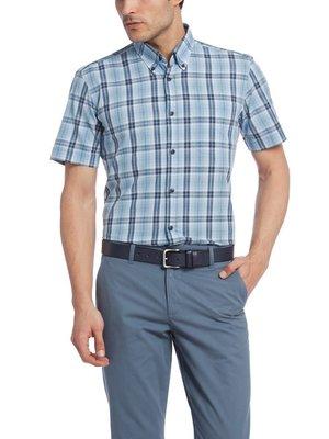 в наличии мужская рубашка LC Waikiki с коротким рукавом голубого цвета в сине-белые полоски