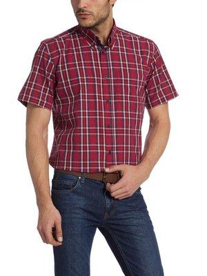 в наличии мужская рубашка LC Waikiki с коротким рукавом красного цвета в сине-белую полоску