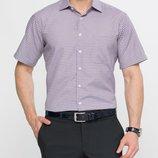 в наличии мужская рубашка LC Waikiki с коротким рукавом белого цвета в мелкую сиреневую клетку