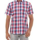 в наличии мужская рубашка LC Waikiki с коротким рукавом белого цвета в синюю и красную клетку