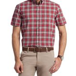 в наличии мужская рубашка LC Waikiki с коротким рукавом красного цвета в черные и белые полоски