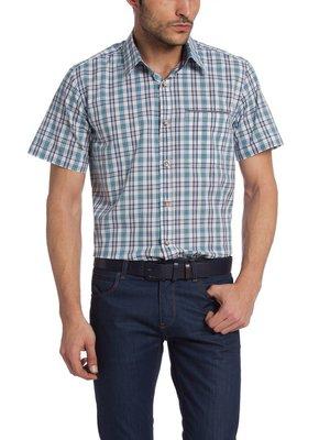 в наличии мужская рубашка LC Waikiki с коротким рукавом белого цвета в синие и голубые полоски