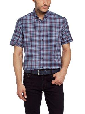 в наличии мужская рубашка LC Waikiki с коротким рукавом темно-синего цвета в красно-белые полоски