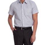 в наличии мужская рубашка LC Waikiki с коротким рукавом белого цвета в темно-синие клетки