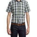в наличии мужская рубашка LC Waikiki с коротким рукавом белого цвета в синие и зеленые полоски