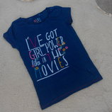 Темно-Синяя футболочка Next на девочку 8 лет