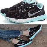Кроссовки натуральный замш Nike Lunarglide 7 Running женские черные с мятным