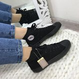 Женские высокие черные кеды Converse