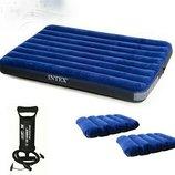 Надувной, двухспальный, двухместный, матрас,с,подушками,и,насосом,плотный,прочный,intex,203X152X22См