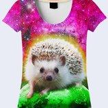 Очаровательная 3D футболка Ёжик в космосе