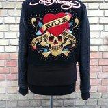 Куртка - бомбер от ED HARDY by Christian Audigier, оригинал, шерсть / кожа.