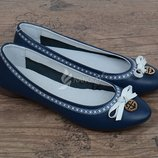 Балетки кожаные Турция женские Bridget темно-синие