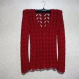 Кофта, футболка р.38-42, Англия, джемпер лето, вязка ажурная,см замер, красная
