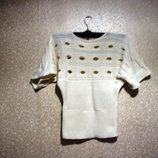 Кофта, футболка р.38-44, Англия, джемпер лето, вязка ажурная, белая
