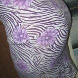 Стильная стрейчевая юбка-резинка миди. Расцветка -зебра и цветы.S-M