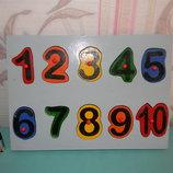 Деревянная развивающая игра с цифрами