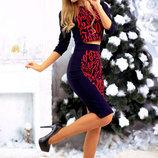 Женский стильный костюм с юбкой средней длины 222 Трикотаж Цифры в расцветках.