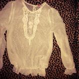 Белая блузка 9-10 лет Miss e-vie рукав 54см