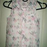 святковий набір -двойка F F шифонова блузка маєчка 7-8 років.128см
