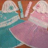 Платье летнее вязанное с шапочкой и повязкой