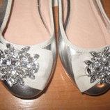 Красивые,серебряные балетки ф.Next uk6 39 р. 25 см по стельке.