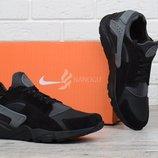 Кроссовки мужские кожаные Nike Huarache black&gray черные c серым