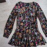 платье женское рр 12 велюр цветы новое фирменное некст длинный рукав черное женское Next Некст