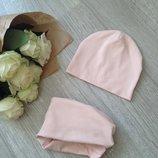 Шапка,шапочка и снуд,хомут,набор трикотажный,демисезонный,пошив на заказ