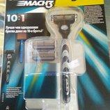 Акционный набор станок для бритья Gillette mach3 и 3 картриджа оригинал