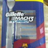 Акционный набор для бритья станок Gillette mach3 turbo и 5 картриджей