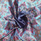костюмный платок шелк синий Франция 37Х38 см