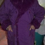 Куртка длинная бордовая Демисезонная с искусственным мехом
