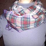 Большой шарф в клетку, шерсть вискоза, 170 см х 64 см