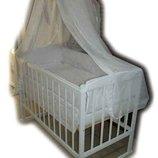Акция Кроватка на дугах Малыш белая матрас кокос постель. New