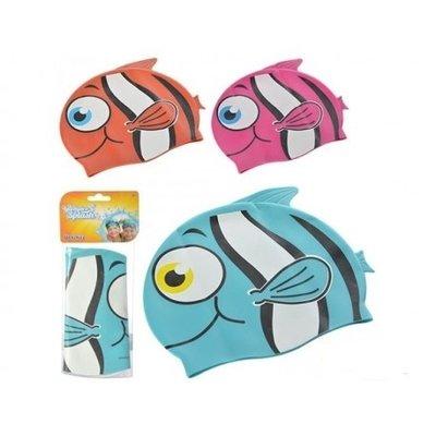 Шапочка для плавания в форме рыбки от 3х лет, 3 цвета