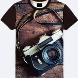 Стильная 3D футболка Старинный фотоаппарат