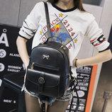 Стильный рюкзак с бантиком и красивым карманом В Наличии