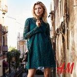 изумрудное кружевное платье H&M