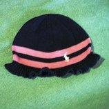 Шапка, шапочка обхват головы 52-54, девочке, вязка с вышивкой, и рюшиками