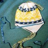 Шапка, LEVIS обхват головы 54-58, девочке, косички, шапочка норвежка вязка с вышивкой, и рюшиками