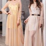 платье-накидка с длинным рукавом, расклешенная юбка , приталенный силуэт, отделка рюшь, дл 143см раз